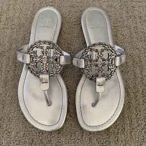 Tory Burch silver miller sandals